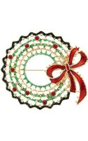 R.j. Graziano Christmas Wreath Pin - Lyst
