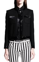 Saint Laurent Fauxbow Shimmery Cropped Jacket - Lyst