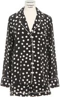 Equipment Black Washed Silk with White Polka Dots and Pipings Vivian Pajama Set - Lyst