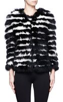 Alice + Olivia Fawn Striped Fur Jacket - Lyst