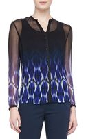 Elie Tahari Anora Printed Chiffon Blouse Brilliant Blue - Lyst
