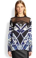 Emilio Pucci Lacetrimmed Printed Silk Blouse - Lyst