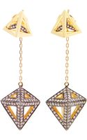 Noor Fares Tetrahedron 18k Gold and Dangling Diamond Earrings - Lyst