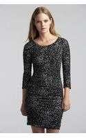 Velvet By Graham & Spencer Jessica Ruched Feline Print Dress - Lyst
