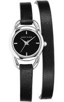 Anne Klein Ladies Black Silvertone Watch with Genuine Leather Strap - Lyst