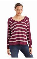 Free People Striped Raglan Sweater - Lyst