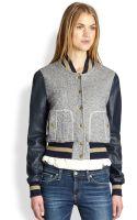 Rachel Zoe Ryder Leather sleeve Baseball Jacket - Lyst