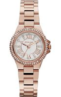 Michael Kors Jewel Encrusted Rose Gold Toned Watch White - Lyst