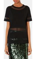 Topshop Sheer Panel Tunic Top - Lyst