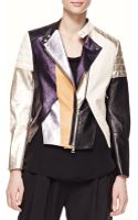 3.1 Phillip Lim Shimmery Colorblock Leather Biker Jacket - Lyst