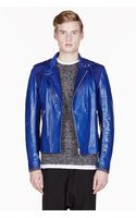 Alexander McQueen Royal Blue Leather and Suede Biker Jacket - Lyst