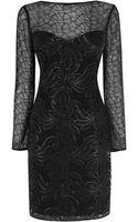 Karen Millen Leather Sequin On Mesh Dress - Lyst