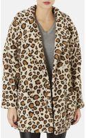 Topshop Leopard Borg Coat - Lyst