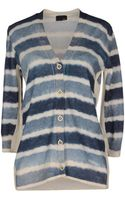 Fendi Blue Stripe Cardigan - Lyst