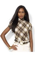 Lauren by Ralph Lauren Shortsleeved Plaid Top - Lyst