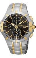 Seiko Mens Stainless Steel Solar Alarm Chronograph Watch - Lyst