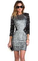 Dress The Population X Revolve Kim Sequin Illusion Dress in Metallic Silver - Lyst