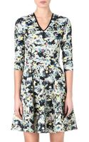 Erdem Floral V-Neck Fit-And-Flare Dress - Lyst