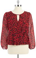 Vince Camuto Animal Print Top with Bell Sleeves - Lyst