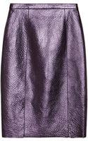 Burberry Prorsum Metallic Textured Leather Pencil Skirt - Lyst
