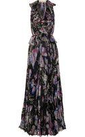 Emilio Pucci Pleated Silk blend Chiffon Gown - Lyst