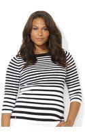 Lauren by Ralph Lauren Plus Size Longsleeve Striped Boatneck Sweater - Lyst