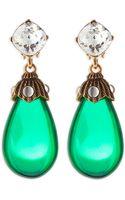Oscar de la Renta Crystal Resin Drop Clipon Earrings Kelly Green - Lyst