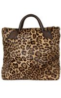 Jas Mb Leopard Print Pony Tote with Leather Handles - Lyst