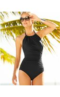Badgley Mischka Ruched High-neck One-piece Swimsuit - Lyst