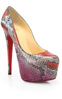 Christian Louboutin Daffodile Multicolor Python Pumps - Lyst