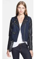 MICHAEL Michael Kors Denim Faux Leather Moto Jacket - Lyst