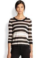 Aiko Tamika Metallic Striped Splitback Sweater - Lyst