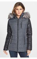 Kensie Color Block Hooded Puffer Coat With Faux Fur Trim - Lyst
