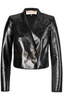 Emilio Pucci Leather Cropped Blazer - Lyst