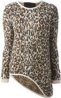 Philipp Plein Leopard Print Asymmetric Sweater - Lyst