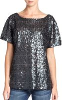 7 For All Mankind Short Sleeve Sequin Top - Lyst