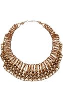 Panacea Crystal and Pearly Bead Collar Necklace Bronze - Lyst
