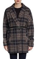 BCBGMAXAZRIA Plaid Wool blend Belted Coat - Lyst