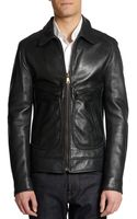 Dolce & Gabbana Long Leather Zip Front Jacket - Lyst