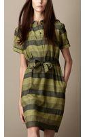Burberry Striped Cotton Silk Shirt Dress - Lyst