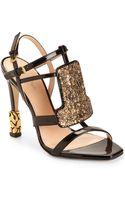Calvin Klein Olga Embellished Patent Leather Sandals - Lyst