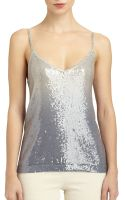 Donna Karan New York Cashmere Ombre Sequined Tank - Lyst