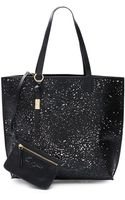 Foley + Corinna Laser Cut Leopard Leather Tote - Lyst