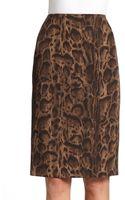 Lafayette 148 New York Modern Wool Leopard-print Slim Skirt - Lyst