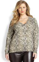 Michael Michael Kors, Salon Z Snakeskinprint Sweater - Lyst