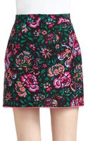 Nanette Lepore Blossom Cotton Silk Printed Faux Wrap Skirt - Lyst