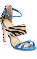 Sergio Rossi Donyale Animalprint Pony Hair Leather Sandals - Lyst