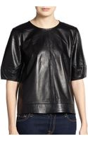 Tibi Short Sleeve Leather Sweatshirt - Lyst