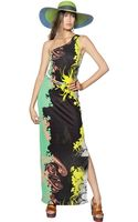 Etro Printed Techno Jersey Long Dress - Lyst