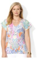 Lauren by Ralph Lauren Plus Size Flutter Sleeve Paisley Print V-Neck Top - Lyst